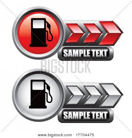 gas pumps on red and white arrow nameplates