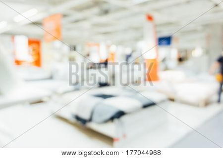 Blurred Furniture Home Mart Interior Object With People