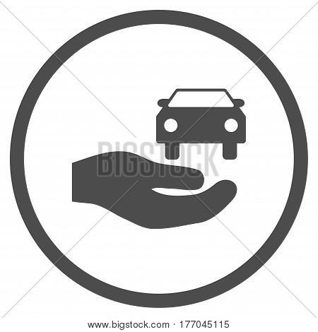 Car Gift Hand rounded icon. Vector illustration style is flat iconic symbol inside circle, gray color, white background.