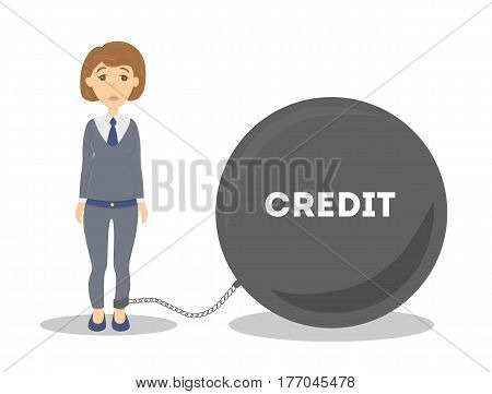 Buisnesswoman with debt as credit. Big black weight on the chain.