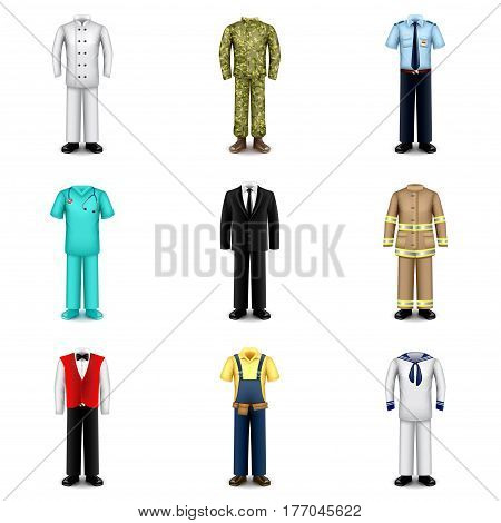 Professions uniforms icons detailed photo realistic vector set