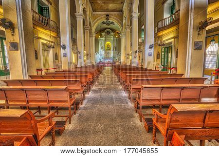 Macau, China - December 8, 2016: interior of Saint Dominics Church, baroque style cathedral at Senado Square in Historic Centre of Macau, Unesco Heritage Site, one of major tourist attractions.