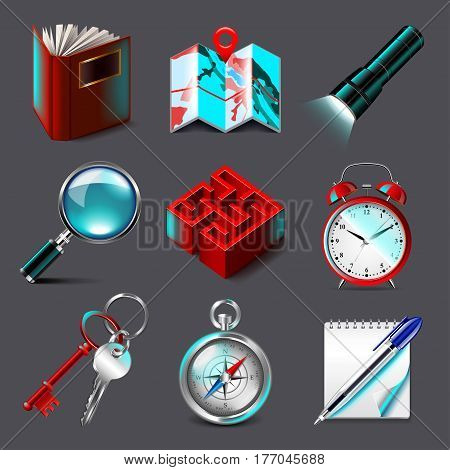 Quest icons detailed photo realistic vector set