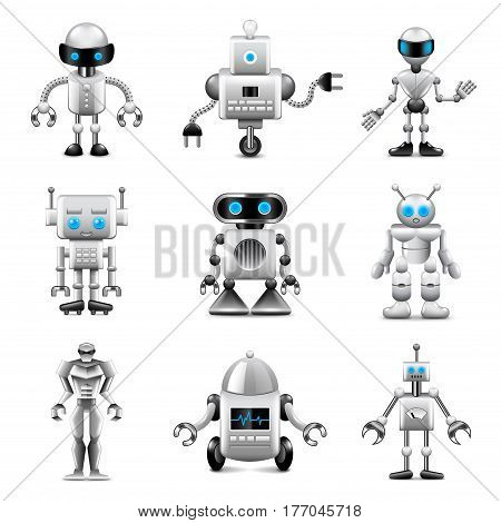 Robots icons detailed photo realistic vector set