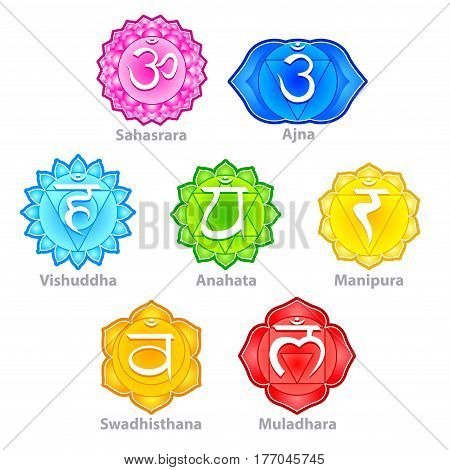 Seven chakras icons detailed photo realistic vector set