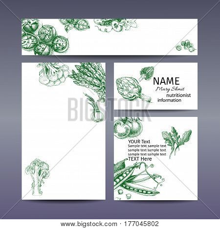 Vector Illustration Sketch Of Tomato, Basil, Cucumber, Cardamom, Cabbage, Broccoli, Cauliflower, Asp