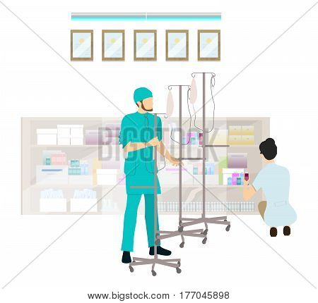 Medical office in the hospital. Doctors prepare medicine and infusion equipment.