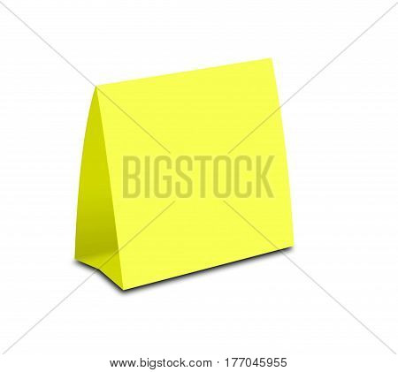 Blank Yellow Table Tent On White. Paper Vertical Cards Isolated On White Background