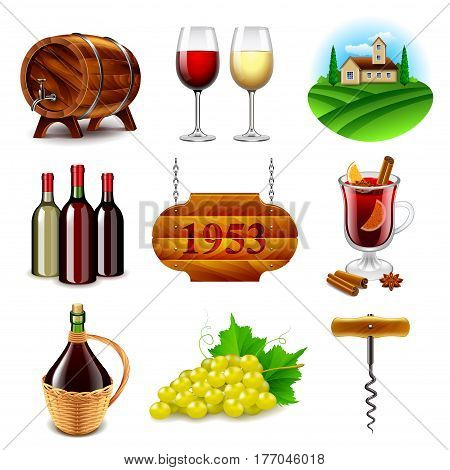 Wine and winemaking icons detailed photo realistic vector set