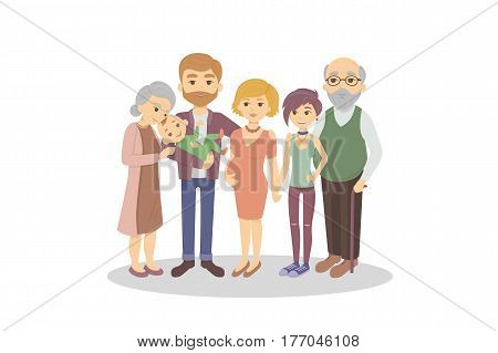 Isolated happy family on white background. Parent and grandparents and son and daughter. Pregnant mother.