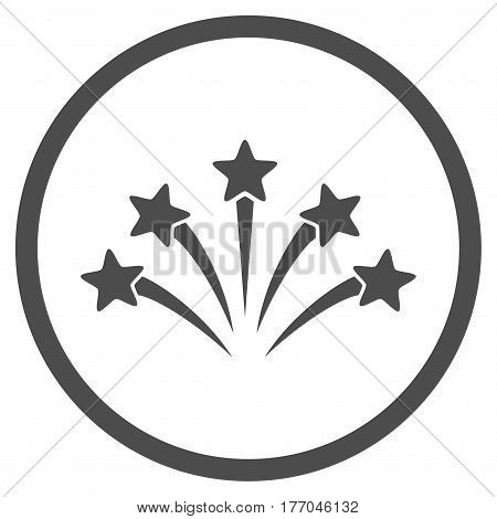 Fireworks Burst rounded icon. Vector illustration style is flat iconic symbol inside circle, gray color, white background.