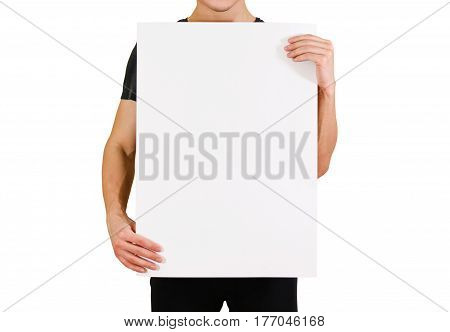 Man Showing Blank White Big A2 Paper. Leaflet Presentation. Pamphlet Hold Hands. Man Show Clear Offs