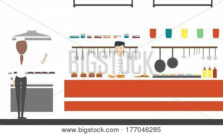 Fast food kitchen. Chefs fry meat and vegetables for burgers.
