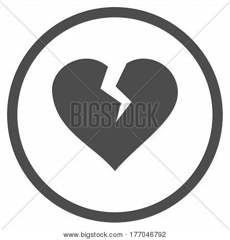 Heart Break rounded icon. Vector illustration style is flat iconic symbol inside circle, gray color, white background.