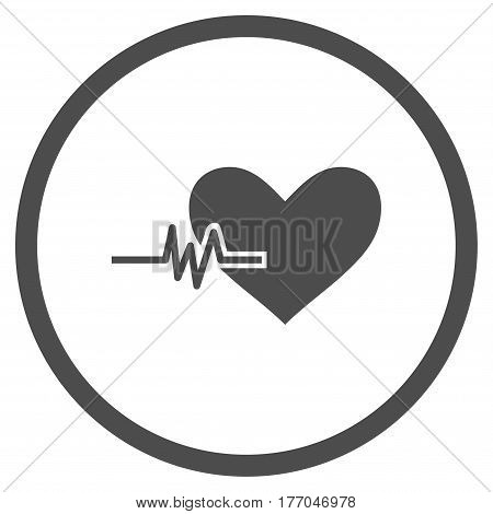 Heart Pulse rounded icon. Vector illustration style is flat iconic symbol inside circle, gray color, white background.