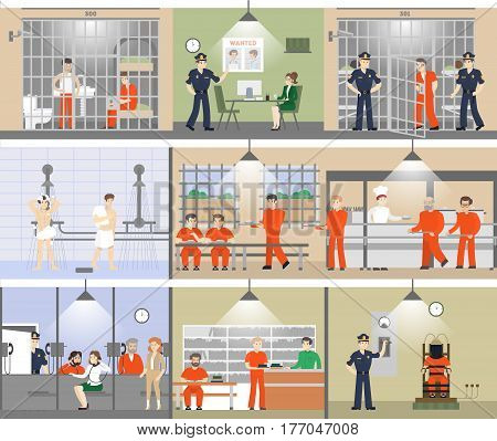 Jail interior set. Prison room with bars and prisoners. Shower and canteen. Electric chair.