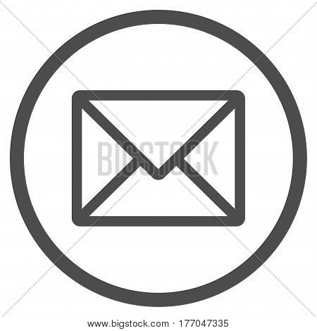 Letter rounded icon. Vector illustration style is flat iconic symbol inside circle, gray color, white background.