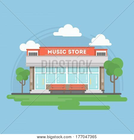 Music store building. Isolated urban building with sign and storefront. City landscape with clouds and trees.