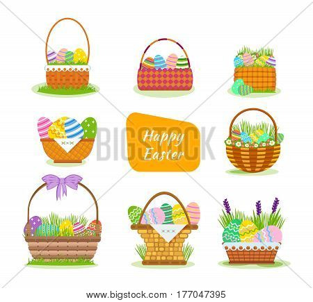 A set of festive, beautiful, Easter baskets with painted eggs, flowers, pies and bakery products, in a solemn atmosphere. Cartoon vector illustration isolated on white background.