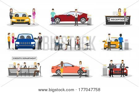 Automobile showroom set on white background. Cars, salesmen and visitors.