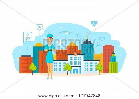 A medical worker in work clothes, holding a test tube with patient analyzes and chemicals, against the backdrop of the hospital building and city streets. Vector illustration.