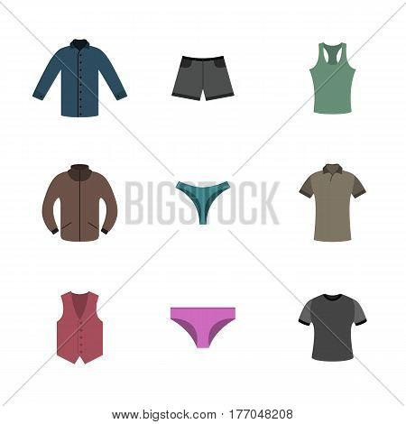 Set various upper and lower clothing in flat style wardrobe design items vector illustration.