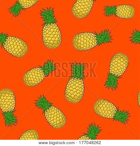 Seamless Pattern of Pineapple , Fruit Ananas on Orange Background, Vector Illustration