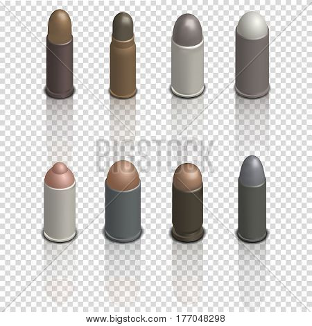 Set of photorealistic cartridges with a bullet isolated on white background. Design element firearms. Mirror reflection and 3D isometric style vector illustration.