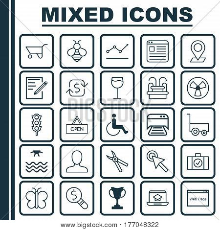 Set Of 25 Universal Editable Icons. Can Be Used For Web, Mobile And App Design. Includes Elements Such As Printed Document, Cursor Tap, Accessibility And More.