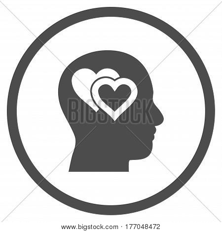 Love In Mind rounded icon. Vector illustration style is flat iconic symbol inside circle, gray color, white background.