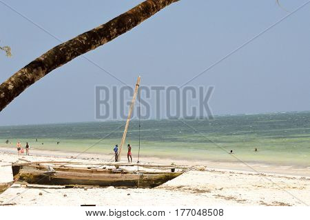 Beam on the Indian Ocean beach with blue sky near the town of Bamburi in Kenya