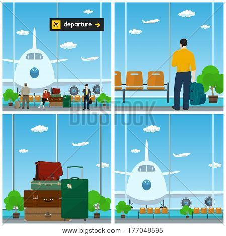 Airport , Waiting Room with People , View on Airplane through the Window , Luggage Bags for Traveling, Scoreboard Departure , Travel and Tourism Concept, Vector Illustration