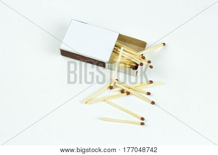 Closeup Outdoor White Boxes Of Matches. Scattered Matches. Isolated On White Background