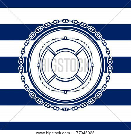Sea Emblem on a Striped Marine Background, a Lifebuoy in a Line Style, Vector Illustration