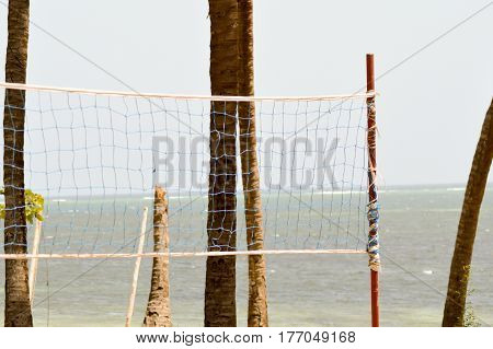 Handball net with two trunks of palm and Indian Ocean in the background