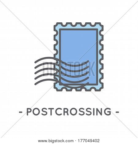 Universal minimal color postage stamp line icon on white background