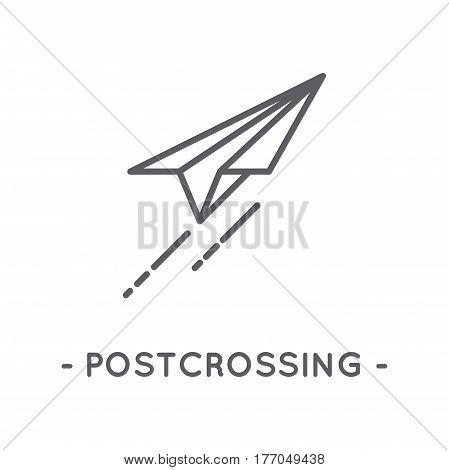 Universal minimal black paper plane line icon on white background