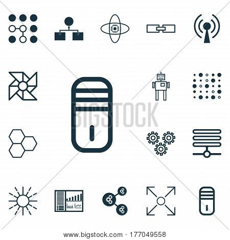 Set Of 16 Artificial Intelligence Icons. Includes Controlling Board, Branching Program, Mainframe And Other Symbols. Beautiful Design Elements.