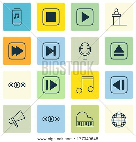 Set Of 16 Multimedia Icons. Includes Following Music, Mike, Audio Mobile And Other Symbols. Beautiful Design Elements.