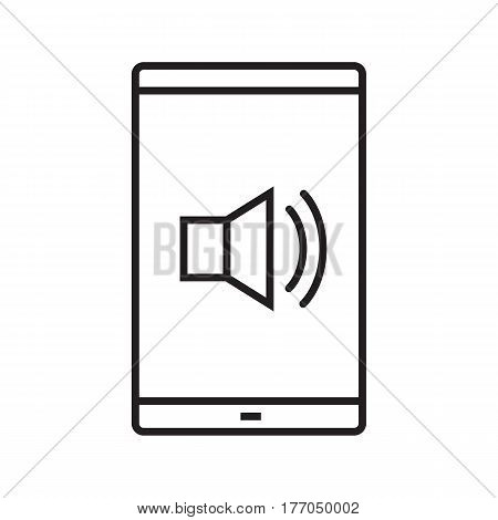 Smartphone sound control linear icon. Thin line illustration. Smart phone with loudspeaker waves. Volume on contour symbol. Vector isolated outline drawing