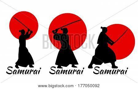 3 Japanese Samurai Warriors Silhouette With Katana Sword On Red Moon. Vector Illustration