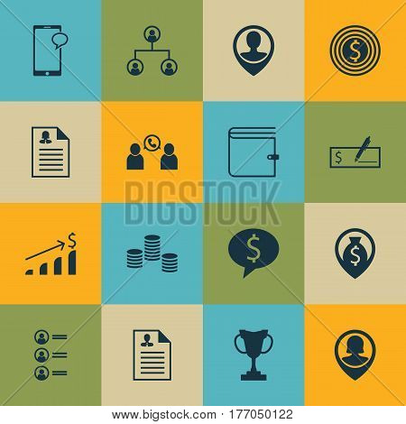 Set Of 16 Human Resources Icons. Includes Employee Location, Curriculum Vitae, Bank Payment And Other Symbols. Beautiful Design Elements.