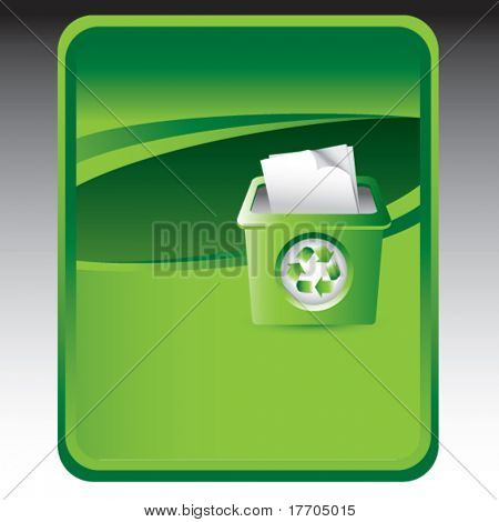 recycle bin on green background