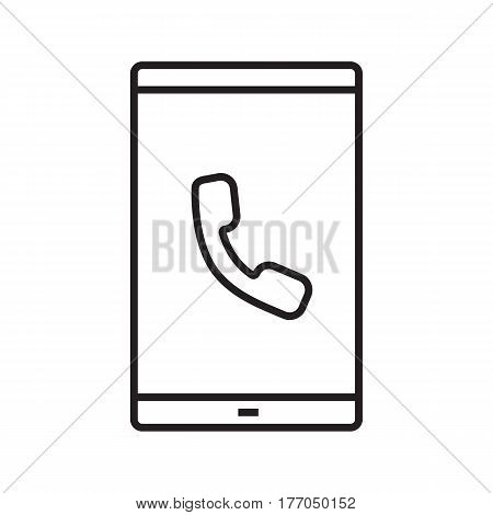 Smartphone incoming call linear icon. Thin line illustration. Smart phone with handset. Contour symbol. Vector isolated outline drawing