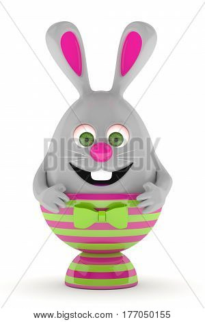 3D Rendering Of Easter Bunny In Egg Holder