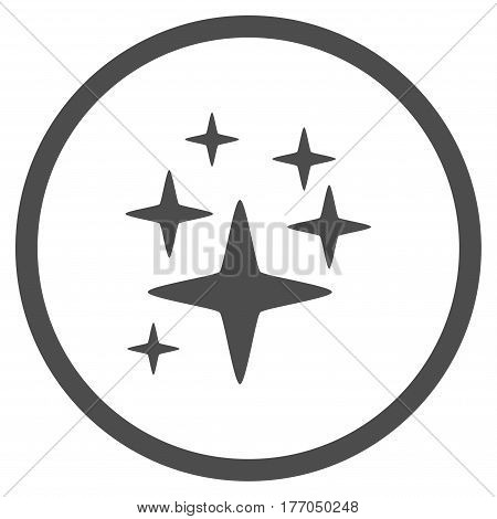 Sparkle Stars rounded icon. Vector illustration style is flat iconic symbol inside circle, gray color, white background.
