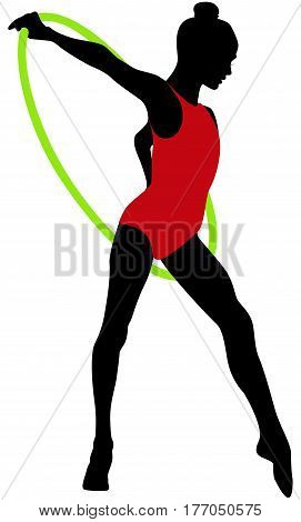 young girl gymnast hoop in rhythmic gymnastics color silhouette