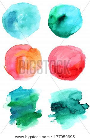 A set of abstract watercolour stains in various hues, scalable vector graphic. Paint brush strokes in teal and pink. Handmade textures for design