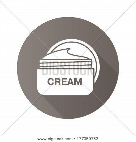 Face cream jar. Flat design long shadow icon. Cosmetics. Vector silhouette symbol