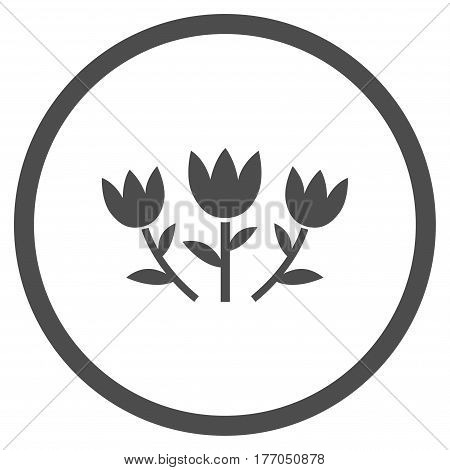 Tulip Flowers rounded icon. Vector illustration style is flat iconic symbol inside circle, gray color, white background.